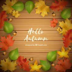 Modern composition with autumn leaves Free Vector