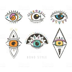vector illustration with esoteric symbols… decorative symbols with eyes royalty-free decorative symbols with eyes stock vector art & more images of abstract Sommer Tattoo, Eye Illustration, Illustration Animals, Mermaid Illustration, Family Illustration, Illustrations, Evil Eye Art, Mystic Eye, Esoteric Art