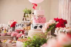 Side-view of the dessert table from a Girly Little Farm Birthday Party via Kara's Party Ideas | KarasPartyIdeas.com (16)