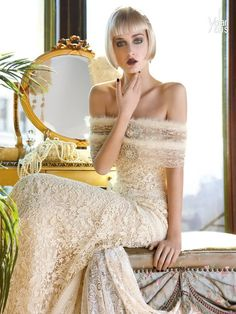 Off The Shoulder Champagne Lace. Yolan Cris 2013.