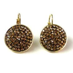 Gold Pave Discs with Champagne Crystals