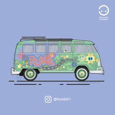 Fillmore VW T1 Van Flat Design Vw Scirocco, Vw Passat, Vw Volkswagen, Volkswagen Bus, Vw Kombi Van, Fiat Bravo, Bmw 318, Fiat Panda, Rv Camping