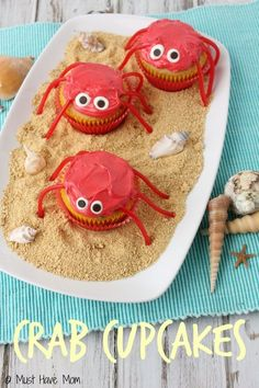 Crab Cupcakes dessert idea for a beach party or summer dessert idea! Would be great for an ocean themed birthday party too!