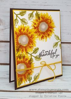 Love the new Painted Harvest Bundle (stamps and punch)! It's two step stamping at its best! #paintedharvest bundle #paintedharveststamps #thankyoucard #leafpunch #2017stampinupholidaycatalog