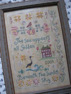 """""""Beneath the Sunlit Sky"""" by Blackbird Designs Embroidery Sampler, Cross Stitch Embroidery, Embroidery Patterns, Hand Embroidery, Cross Stitch Samplers, Cross Stitching, Cross Stitch Designs, Cross Stitch Patterns, Sewing Crafts"""