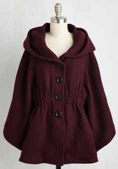 Hood if I Could Cape in Merlot. Snuggled in the textured fabric of this Steve Madden coat, you brim with the confident feeling that you can accomplish anything! #red #modcloth