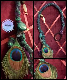 Peacock purple and green - decorated removable hairwrap dreadwrap long) Festival Hair, Festival Looks, Dreads Styles, Hair Styles, Dread Wraps, Viking Hair, Synthetic Dreads, Hair Decorations, Peacock Feathers