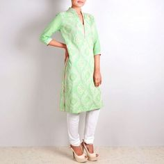 Mughal Pattern Embroidered Green Straight Cut Suit