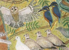 Francis by Leonard McComb. A section of the mosaic of St Francis of Assisi in Westminster Cathedral. A fine art greeting card with Tawney Owl, Kingfishers and Collars. Birds Painting, Folk Art, Greeting Card Art, Illustration, Drawings, Painting, Art, Card Art, Assemblage
