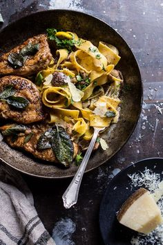 "Browned Sage Butter Chicken Piccata with Mushroom Pasta | <a href="""" rel=""nofollow"" target=""_blank""></a> <a href=""/hbharvest/"" title=""Half Baked Harvest"">@Half Baked Harvest</a>"