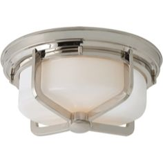 Visual Comfort Thomas O'Brien Large Milton Flush Mount in Polished Nickel and White Glass TOB4013PN-WG
