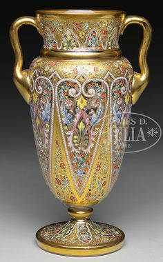 Fabulous richly emamelled and gilt glass vase by Moser