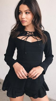 #spring #outfits  Black Cut-out 'Wait For You' Playsuit ❤️
