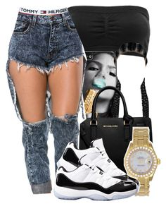 """""""~"""" by queen-jailee ❤ liked on Polyvore featuring Charlotte Russe, Diamond Supply Co., Tommy Hilfiger, Michael Kors, Rolex and Concord"""