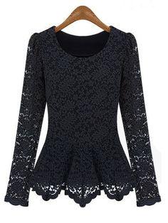 Lace Hollow Blouse Slim Long Sleeve Elegant T-Shirt