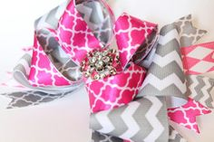 Pink and gray chevron hair bow over the top bow by LayersandFrills, $8.00