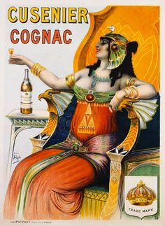 Cusenier Cognac Advertisement Poster  art nouveau Egyptian Lady  gypsy type