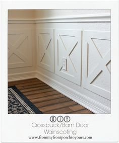 From My Front Porch To Yours: DIY Crossbuck/Barn Door Dining Room Wainscoting Dining Room Wainscoting, Dining Room Walls, Dining Room Design, Dining Room Furniture, Wainscoting Ideas, Living Room, Room Feng Shui, Dining Lighting, Small Dining
