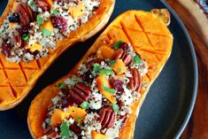 (English) Delicious healthy stuffed butternut squash with quinoa cranberries pecans and feta cheese. An easy satisfying vegetarian fall dish! Best Pumpkin Pie, Pumpkin Recipes, Veggie Recipes, Vegetarian Recipes, Healthy Recipes, Lunch Recipes, Healthy Eats, Easy Recipes, Cookie Recipes