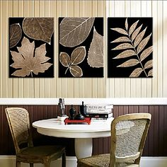 Stretched Canvas Art Botanical Big Leaves Set of 3 Artist Canvas, Canvas Art, Big Leaves, Paint Set, Panel, Stretched Canvas Prints, Wall Prints, Diy Home Decor, Wall Decor