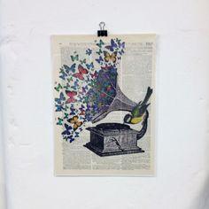 Gramophone Dictionary Art Print Birds by TheGrungeMonkey on Etsy