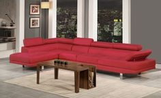 Poundex Bobkona Vegas Blended Linen Sectional Sofa with Functional Armrest and Back Support, Carmine 2 Piece Sectional Sofa, Sofa Furniture, Modern Sectional, Sofa, Furniture, Red Furniture Living Room, Red Leather Sofa Sectional, Fabric Sectional Sofas, Sectional Sofas Living Room