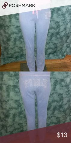 Pink  jogger  pants Light blue  with  pink lining. 92% cotton  8% nylon  clean & undamaged. Victoria's Secret Pants Track Pants & Joggers