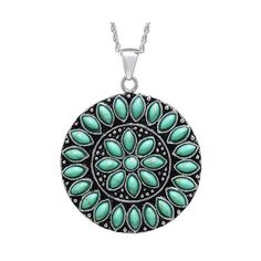 Sterling Silver Medallion Pendant - Turquoise/Silver ($130) ❤ liked on Polyvore featuring jewelry, pendants, sterling silver anklet, turquoise bracelet, sterling silver pendant, sterling silver charms pendants and silver anklet