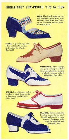 Seriously fantastic shoes from 1939. #vintage #1930s #shoes #ads vintage fashion style color photo print ad model magazine 30s shoes low heels brogue pump lace up casual sportswear
