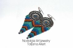Macrame earrings ,Macrame, Micro Macrame , boho earrings , Bohemian jewelry, Ethnic , gift , Ethnic jewelry