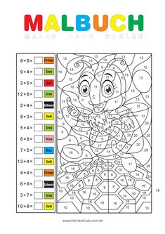 Calculating and painting ZR 20 - Math tasks for the grade Mathematics in the Gru . Math Coloring Worksheets, Printable Math Worksheets, 3rd Grade Math Worksheets, Subtraction Worksheets, Math 4 Kids, Math Activities For Kids, First Grade Freebies, All About Me Preschool, Color By Numbers