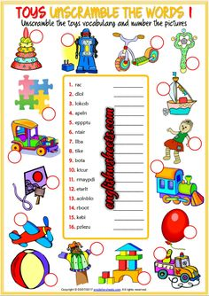 Toys Esl Printable Unscramble the Words Worksheets For Kids Math Subtraction Worksheets, First Grade Math Worksheets, Vocabulary Worksheets, Vocabulary Cards, Kindergarten Worksheets, Worksheets For Kids, Printable Worksheets, English Vocabulary, Language Activities