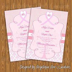 Breast Cancer Theme Party Invitations by jayarmada on Etsy, $13.99