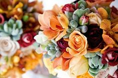 I like the use of succulents in this bouquet. I would want a primarily white bouquet but accents using succulents may be an interesting concept. Orange Wedding Flowers, Orange Flowers, Flower Bouquet Wedding, Yellow Flowers, Wedding Colors, Wedding Ideas, Fall Flowers, Flower Colors, Boquet