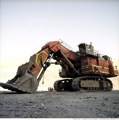 This huge machine at a Newmont Mining site is used for open-pit mining. Tiny compared to the old days.