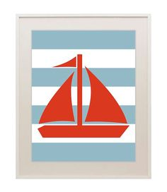 Sailboat nursery print, nautical theme, ocean decor, baby boy, children's art print, wall decor, choose your colors, 11x14 on Etsy, $22.00