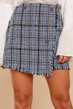 012a3e2846e5 Charming Blue Plaid Skirt - Trendy Tweed Mini Skirt - Skirt - $44.00 – Red  Dress