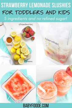These Strawberry Lemonade Slushies for Toddlers + Kids are a refreshing summer drink that the entire family will enjoy! Made with 5 simple ingredients – lemons, strawberries, honey, ice and water, these slushies will become your new favorite summer drink. Toddler Recipes, Toddler Snacks, Baby Food Recipes, My Recipes, Healthy Store Bought Snacks, Becoming Vegetarian, Refreshing Summer Drinks, On The Go Snacks, Strawberry Lemonade