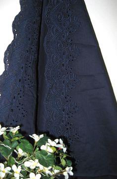 Retro Dark Navy Blue Ribbon Bow Flower Floral Lace Border8.90, via Etsy.