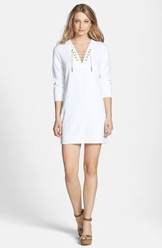 MICHAEL Michael Kors Chain Lace-Up French Terry Dress   Nordstrom