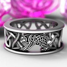 Sterling Silver Bear Wedding Band Celtic Bear Ring Mens
