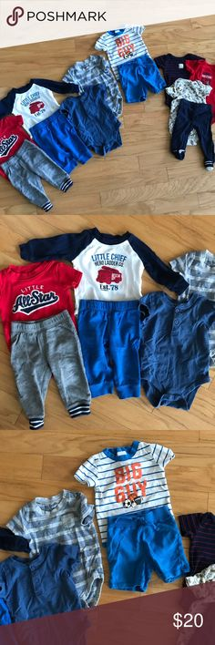 Baby boy onesies and pants Set of 8 onesies and 4 bottoms for baby boy size 6m, 9m, and 6-12m.  Little Chief & Pants 6m Big Guy & shorts 9m Little All-Star & pants 9m 3 Carters onesies with matching pants 6-12m Plain blue and gray/blue stripe onesies 9m  All in good condition with no holes or stains. Smoke free home. Bundle with my other items for a discount. Matching Sets