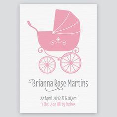 Pretty Pram birth announcement