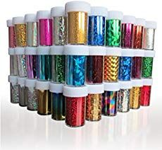 XICHEN® 48 Colors Starry Sky Stars Nail Art Stickers Tips Wraps Foil Transfer Adhesive Glitters Acrylic DIY Decoration 48 Colors Each volume Specification Office Product Simple Nail Art Designs, Easy Nail Art, Cool Nail Art, Star Nail Art, Star Nails, Glitter Manicure, Manicure E Pedicure, Nail Art For Kids, Transfer Foil