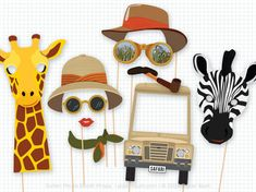 Safari Party, Photo Booth Props, Safari Birthday, Foto Booth, Photobooth Props, Adventurer, Explorer, Africa, Safari Animals, Safari Masks
