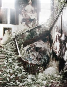 Blown-up images of 18th and 19th century nobles at Glemham Hall; Tim Walker for W Magazine, April 2011