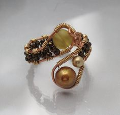 Pearl and Sea Glass Amber and Golden Copper Wire Wrap Ring adjustable. $24.00, via Etsy.