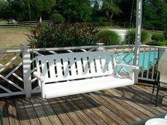Porch-Swing-On-Deck-Before Pergola Swing, Pergola Shade, Pergola Patio, Pergola Plans, Pergola Kits, Porch Swing, Backyard, Corner Pergola, Front Porch