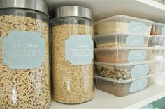 Great idea for kitchen... dollar store containers and free printables for cute labels!!!