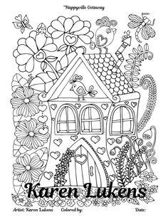 Happyville Getaway 1 Adult Coloring Book Page Printable Instant Download Karen Lukens